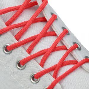 Шнурки для обуви, пара, круглые, d = 3 мм, 120 см, цвет красный