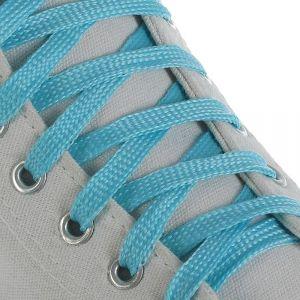 Шнурки для обуви, пара, плоские, светящиеся в темноте, 10 мм, 100 см, цвет голубой