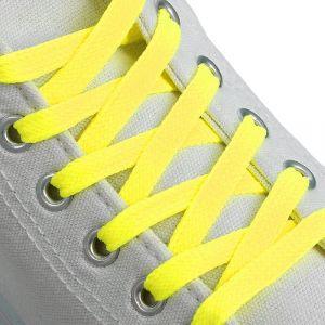 Шнурки для обуви, пара, плоские, 7 мм, 120 см, цвет жёлтый неоновый