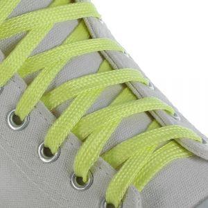 Шнурки для обуви, пара, плоские, светящиеся в темноте, 10 мм, 100 см, цвет жёлтый