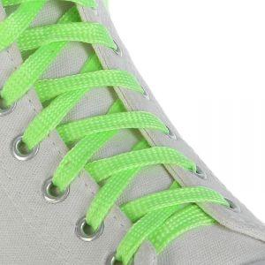 Шнурки для обуви, пара, плоские, светящиеся в темноте, 10 мм, 100 см, цвет салатовый