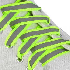 Шнурки для обуви, пара, плоские, со светоотражающей полосой, 10 мм, 100 см, цвет жёлтый неоновый