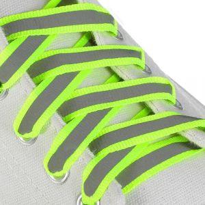 Шнурки для обуви, пара, плоские, со светоотражающей полосой, 10 мм, 120 см, цвет жёлтый