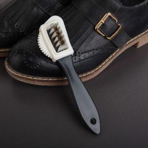 Щётка тройная для обуви: замша, нубук, велюр, цвет чёрный