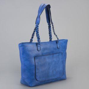 Сумка женская, отдел на молнии с перегородкой, 2 наружных кармана, цвет синий
