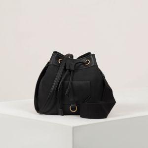 Сумка женская, отдел на стяжке, наружный карман, на стропе, длинный ремень, цвет чёрный