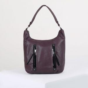 Сумка женская, отдел на молнии, 3 наружных кармана, цвет фиолетовый