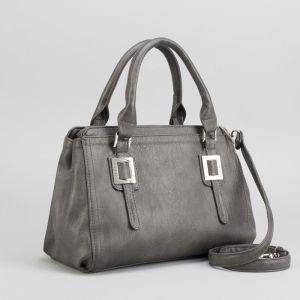 Сумка женская, 2 отдела на молнии, наружный карман, цвет серый