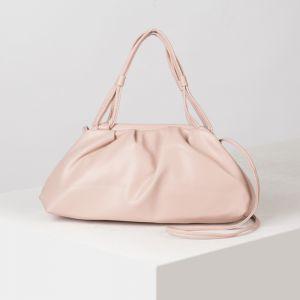 Сумка женская, отдел на рамке, длинный ремень, цвет розовый