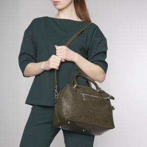 Сумка женская, отдел на молнии, 2 наружных кармана, длинный ремень, кошелёк, цвет зелёный