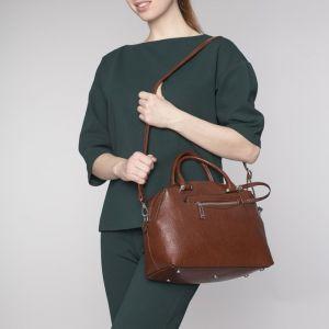 Сумка женская, отдел на молнии, 2 наружных кармана, длинный ремень, кошелёк, цвет кофе