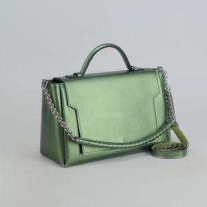 Сумка женская, отдел с перегородкой, длинный ремень, наружный карман, цвет зелёный перламутровый