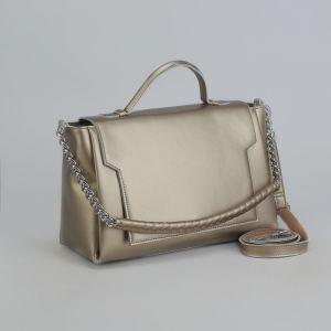 Сумка женская, отдел с перегородкой, длинный ремень, наружный карман, цвет золотой