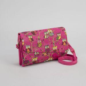 Клатч женский, 3 отдела на молнии, длинный ремень, цвет розовый