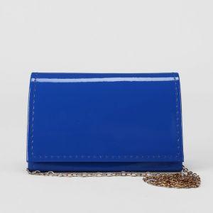 Клатч женский, отдел на клапане, длинная цепь, цвет синий