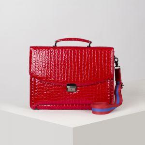 Портфель, 5 отделов на клапане, 3 наружных кармана, длинный ремень, цвет ярко-красный