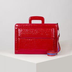 Портфель, 5 отделов на молнии, отдел для планшета, 3 наружных кармана, длинный ремень, цвет ярко-красный
