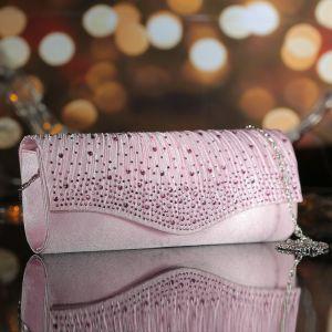 Клатч женский, отдел на магните, длинная цепь, цвет розовый