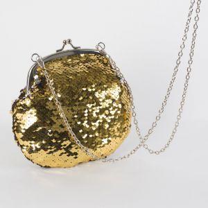 Сумка женская, отдел на фермуаре, длинная цепь, цвет серебристый/золотой