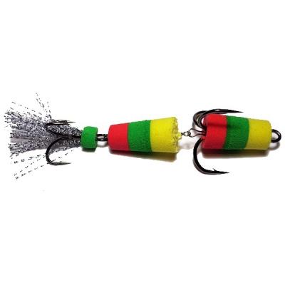 Приманка Мандула Флажок XXL Fish модель 1, р.85 мм, цв. желто-зелено-красный