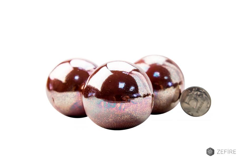Декоративные керамические камни-шары красное золото - 14 шт