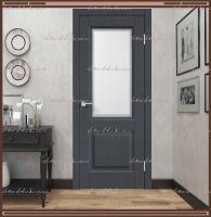 Межкомнатная дверь ALTO 6 Остекленное SoftTouch структурный Ясень графит, стекло - МАТЕЛЮКС Контур1 :