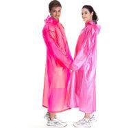 Плащ-дождевик виниловый для взрослых, розовый