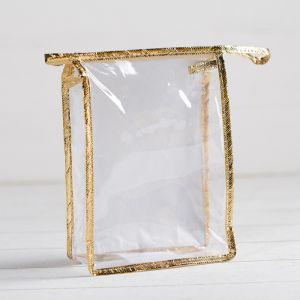 Косметичка ПВХ, отдел на молнии, цвет золото/прозрачный