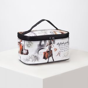 Косметичка-сумочка, отдел на молнии, с зеркалом, цвет белый
