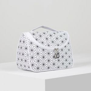 Косметичка-сумка, отдел на молнии, зеркало, цвет белый