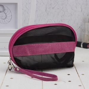 Косметичка-сумочка, отдел на молнии, с ручкой, цвет чёрный/малиновый