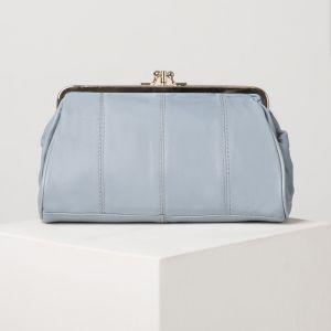 Косметичка-фермуар, 2 отдела на рамке, наружный карман, цвет голубой
