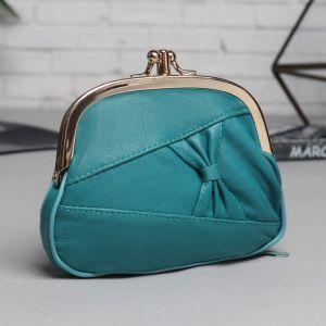 Косметичка-фермуар, 2 отдела на рамке, наружный карман, цвет бирюзовый