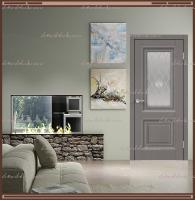 Межкомнатная дверь ALTO 7 Остекленное SoftTouch структурный Ясень грей, стекло - Crystal Glass Ice :