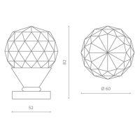 Комплект кноб Glass Design Geo60. схема