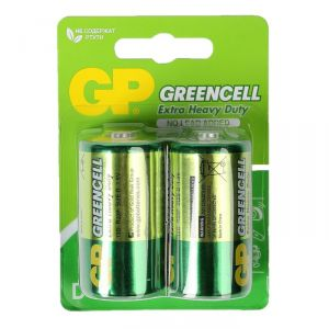 Батарейка солевая GP Greencell Extra Heavy Duty, D, R20-2BL, 1.5В, блистер, 2 шт. 470403