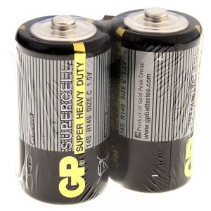Батарейка солевая GP Supercell Super Heavy Duty, C, 14S / R14, 1.5В, спайка, 2 шт. 470407