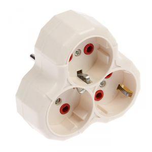 Разветвитель Luazon Lighting, 3 розетки, 16А, с з/к, белый   3813275