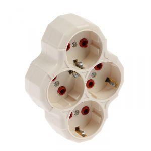 Разветвитель Luazon Lighting, 4 розетки, 16А, с з/к, белый   3813276