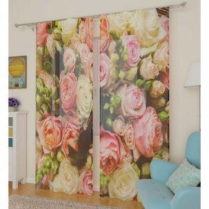 Тюль «Букет французских роз», ширина 145 см, высота 260 см, 2 шт