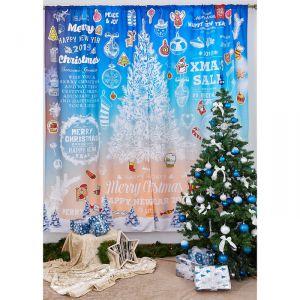 Комплект штор Новогоднее объявление 145х260 см- 2шт., габардин, пэ 100%   3803434