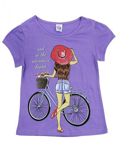 """Футболка для девочек 8-12 лет Bonito """"Girl on a Bicycle"""" фиолетовая"""