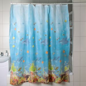"""Штора для ванной 180?180 см """"Рыбки"""", PEVA"""