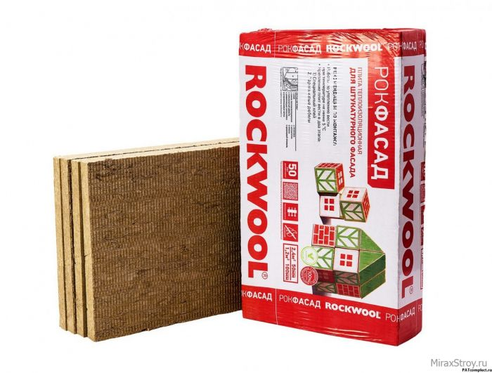 Утеплитель ROCKWOOL Фасад Баттс 50 мм 1000х600х50мм 2.4м2 0.12м3 4шт