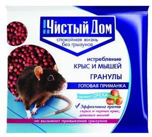 Средство от крыс и мышей Чистый дом гранулы с запахом ореха 100 г