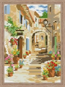 Алмазная мозаика «Солнечный дворик» 30x40 см