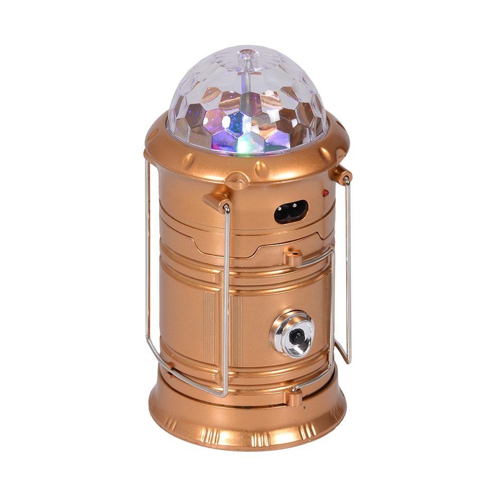 Складной кемпинговый фонарь с диско-шаром 4 в 1, 19 см. Цвет  Золотой  (без солнечной панели)