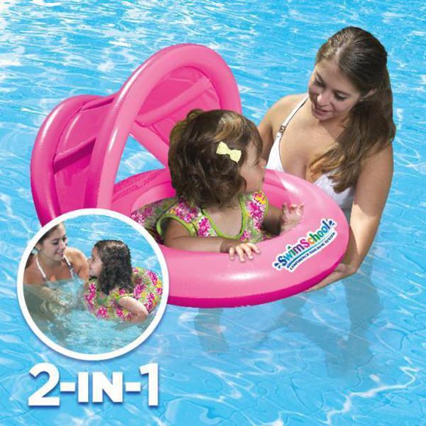 Универсальный надувной круг с навесом 2-IN-1 BABY BOAT. Цвет Розовый