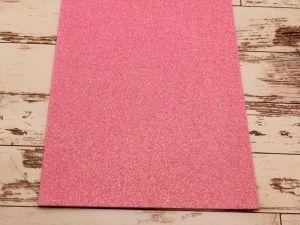 """Фоамиран """"глиттерный"""" Китай, толщина 2 мм, размер 20x30 см, цвет светло-розовый (1 уп = 10 листов)"""