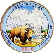 25 центов 2010 США Йеллоустоун (Yellow Stone) 2-й парк (цветная)